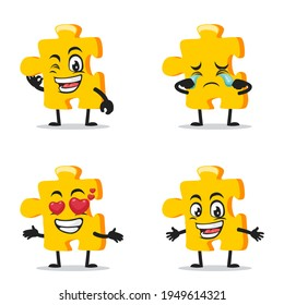 vector illustration of puzzle mascot or character collection set with expression theme