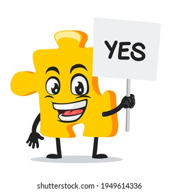 vector illustration of puzzle mascot or character holding sign says yes
