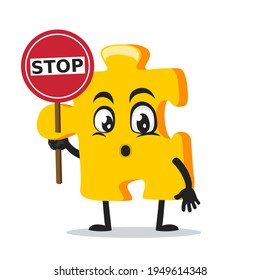 vector illustration of puzzle mascot or character holding sign says stop