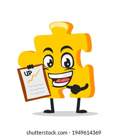 vector illustration of puzzle mascot or character presentation with clipboard