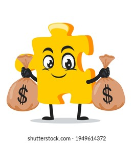 vector illustration of puzzle mascot or character holding sacks of money