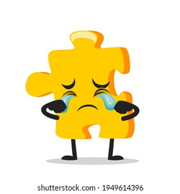 vector illustration of puzzle mascot or character crying