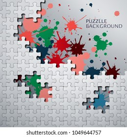 Vector illustration of Puzzle pieces with paint stains