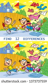 In the vector illustration puzzle, the task to find 12 differences in the pictures, where the children are naughty, running with a kite and running away from her grandmother