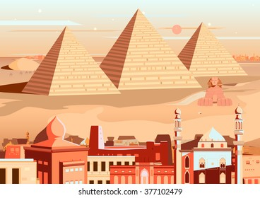 vector illustration of pyramid and Sphinx of Giza, Egypt