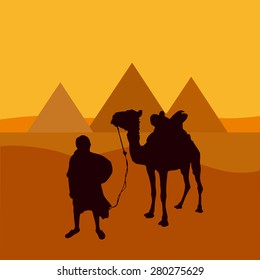 Vector illustration pyramids in egypt