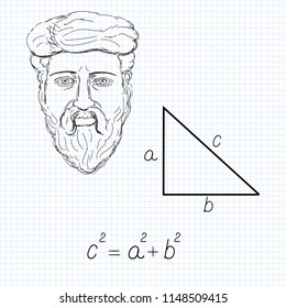 Vector illustration of  Pythgorean theorem with formula and sketch portrait of Pythagoras