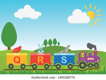 Vector Illustration of Q R S alphabets and animals riding a train whose name starts with that particular letter