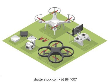 Vector Illustration with quad copter and remote control on color background. Drone with a video camera, controller has a holder for mobile phone. Isometric style.