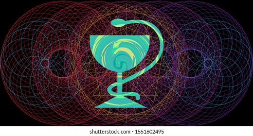vector illustration of quantum medicine concept with concentric circles and medical symbol with snake
