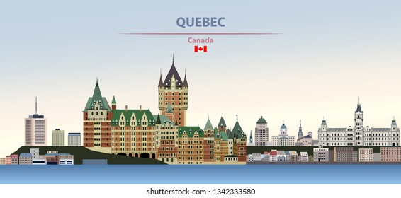 Vector illustration of Quebec city skyline on colorful gradient beautiful day sky background with flag of Canada