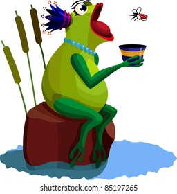 A vector illustration of a Queen-frog, eating a mosquito.