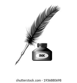 Vector illustration of quill and ink bottle, isolated on white background.