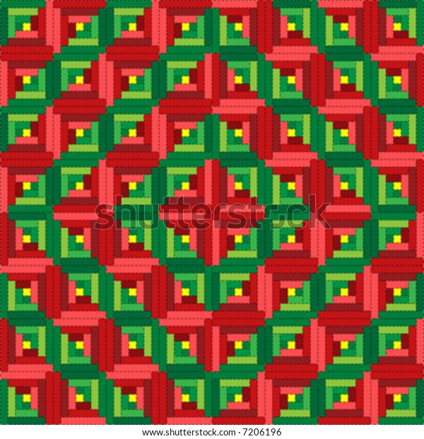 Log Cabin Christmas Quilt.Vector Illustration Quilt Serieschristmas Log Cabin Stock