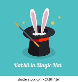 Vector illustration rabbit in magic hat. Surprize concept .