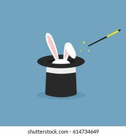 Vector illustration rabbit in magic hat. Flat icon