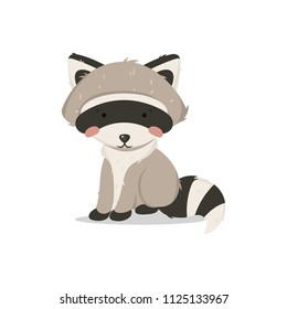 Vector illustration, raccoon sitting. Litlle and cute raccoon
