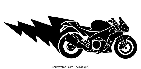 Vector illustration of a racing motorcycle with lightning trail.