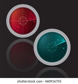 Vector illustration of RADAR  SET. Illustration on black background for your design. Radar searching targets.