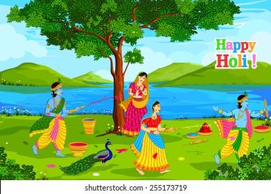 vector illustration of Radha Krishna playing Holi