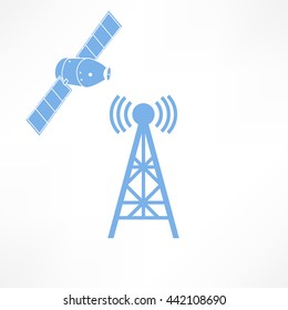 Vector illustration radio antenna wireless. Wave tower radio antenna. Telecommunications radio antenna tower or mobile phone base station with engineers concept vector. Satellite icon