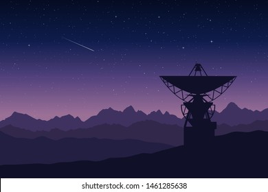 Vector illustration of a radio telescope in remore mountain location at night. Silhouette of a large antenna of observatory space research station against starry sky