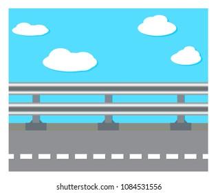Vector illustration railing at road side on blue sky background