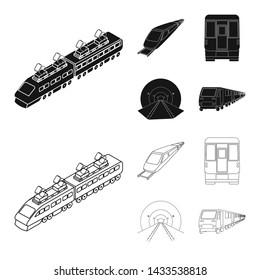 Vector illustration of railroad and train icon. Set of railroad and way vector icon for stock.