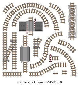 Vector illustration of railway parts - Grey rails. Train road toy constructor elements isolated ow white