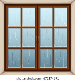 Vector illustration of rain outside the window.