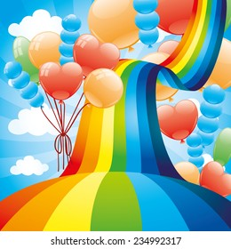 Vector illustration. Rainbow and balloons.