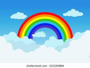 Vector illustration rainbow and cloud on blue sky background