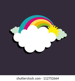 Vector Illustration of a rainbow in a cloud shape banner.
