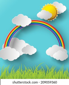 Vector illustration rainbow and cloud with sun over the field.paper art style.