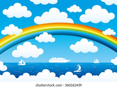 Vector illustration. Rainbow and clouds in the blue sky over the ocean.