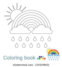 Vector illustration of rainbow, clouds, raindrops and sun for coloring book. Simple educational game for kids.