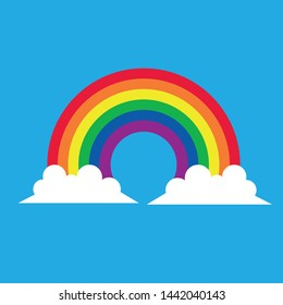 vector illustration of rainbow and clouds in the sky