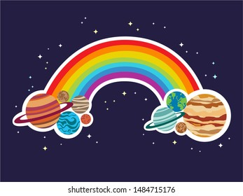 Vector Illustration of a Rainbow with Complete Color ROYGBIV with Solar System Planets like Earth, Jupiter Saturn, Venus at both ends in a Blue Night Sky Background with White and Yellow Stars