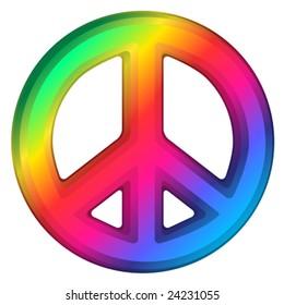Vector illustration of rainbow dimensional peace sign.