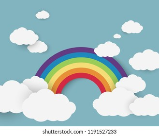 Vector illustration of rainbow on the blue sky with clouds.