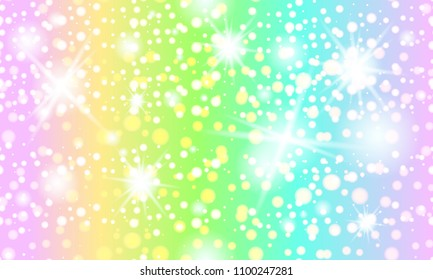 Vector Illustration Rainbow seamless pattern, sky with a rainbow, cute background for a unicorn and mermaids.  Galaxy fantasy background and pastel color. Cute bright candy background.