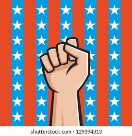 Vector Illustration of a raised fist in front of American stars and stripes.