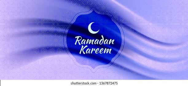 Vector illustration of Ramadan Kareem (Arabic islam culture festival) with silk fabric background.