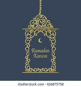 Vector illustration of Ramadan Kareem card. Ramadan kareem card with gold lantern.