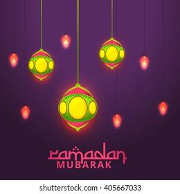 Vector illustration of Ramadan Kareem with shiny lamp.