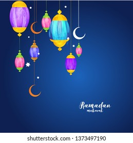 Vector illustration of ramadan mubarak design with hanging colorful illuminated lantern.