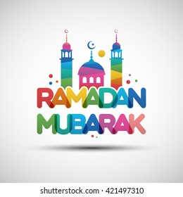 Vector Illustration of Ramadan Mubarak greeting card design with creative multicolored transparent text for holy month of muslim community