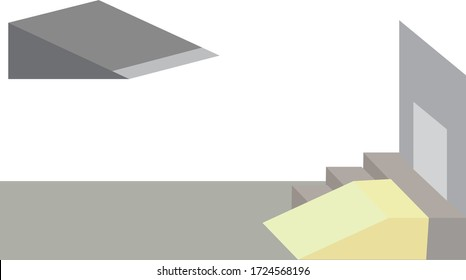 Vector Illustration of a Ramp for the Disabled, Sidewalk With Stairs and Ramp. Device for Physically Disabled people.