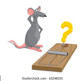 Vector illustration of rat located next to mousetrap