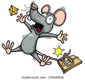 Vector illustration of A rat is trying to steal a piece of cheese